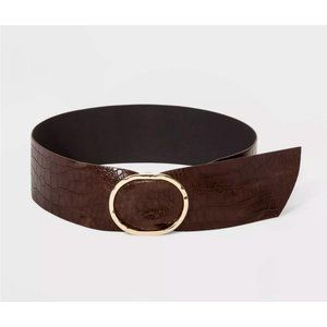 Women's Hammered Buckle Embossed Sash Belt Small